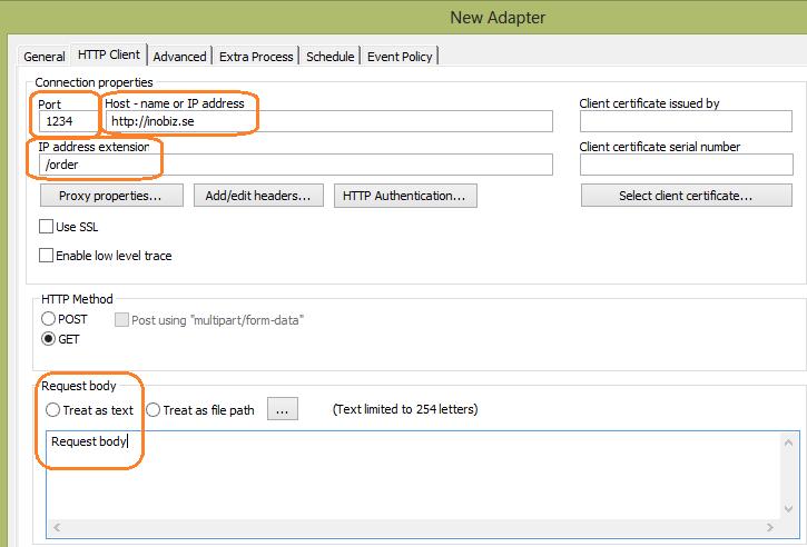 HTTP Client In adapter Example, static body – Inobiz